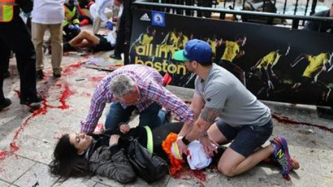 Victim being treated after Boston marathon terror bomb blast