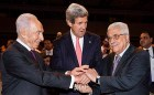 Three enemies of Jewish life in Jerusalem, Judea and Samaria shook hands in Jordan on Sunday: From right to left: Palestinian President Mahmoud Abbas, U.S. Secretary of State John Kerry and Israel's President Shimon Peres. May 26, 2013.