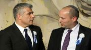 Jewish Home leader Naftali Bennett is on the right, and Yesh Atid leader Yair Lapid is on the left, but not very far.