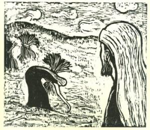 Boaz Watching Ruth (1957) woodcut by Jacob Steinhardt. Courtesy Jewish Publication Society, Philadelphia.