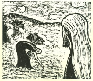 Boaz Watching Ruth (1957) woodcut by Jacob Steinhardt. Courtesy Jewish Publication Society, Philadelphia.