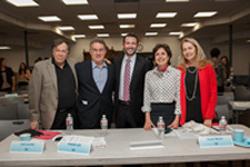 West Coast NCSY regional director Solly Hess, center, with the four judges (L-R) Joel Levine; Frank Lee; Leslie Kessler; and Susan Baum.