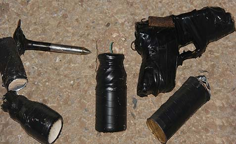 Explosives and weapons seized at various IDF crossings.