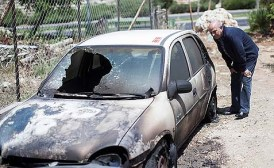 This car was set ablaze last week in the Sheikh Jarrah neighborhood of East Jerusalem.
