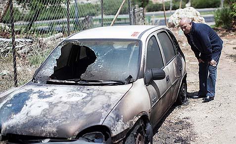This car was set ablaze last week in the Sheikh Jarrah neighborhood of East Jerusalem.