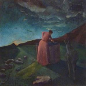 Miriam (2013) 48 x 48, oil on linen by Shany Saar. Courtesy the artist.