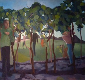 The 12 Spies - Vineyard (2013) 56 x 60, oil on linen by Shany Saar. Courtesy the artist.