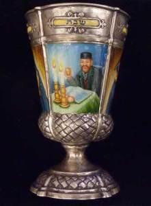 German Silver and Enamel Kiddush Goblet. Courtesy Kestenbaum & Company.