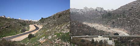 In the right photo - the road when construction started. In the left photo -  the new road.