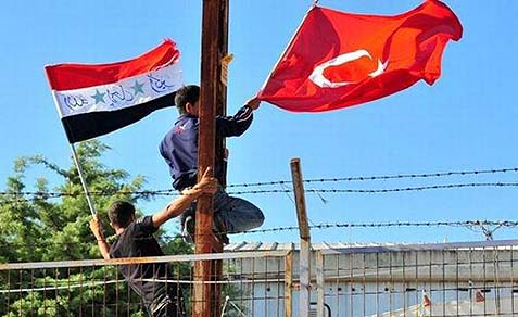Syrian and Turkish flags.