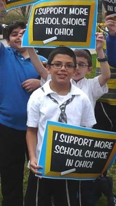 Cincinnati Hebrew Day School students attending a rally for school choice in front of the Ohio Statehouse in Columbus, April 10, 2013. Photo: Agudath Israel
