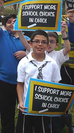 Cincinnati Hebrew Day School students attending a rally for school choice in front of the Ohio Statehouse in Columbus, April 10, 2013.