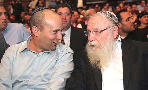 Rabbi Chaim Druckman (R.) is the only major National Religious spiritual leader supporting Naftali Bennett's referendum bill.