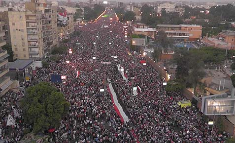 A protest in front of El-Thadiya presidential palace in Cairo June 30.