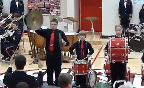 kid with cymbals