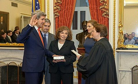 Teresa Kerry, shown in swearing-in ceremony of John Kerry as Secretary of State, is in critical condition