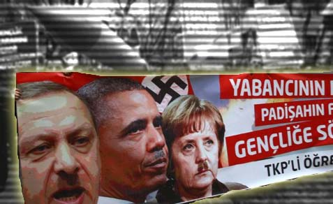 Everybody gets a Hitler's moustache: Turkish demonstrators gave an equal Hitler treatment to Turkish Prime Minister Recep Tayyip Erdogan (L), U.S. President Barack Obama (C) and German Chancellor Angela Merkel.