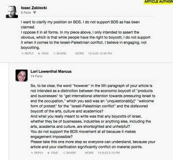 "comments to Zablocki's ""Boycotting the Messenger"" op-ed in Huffington Post"