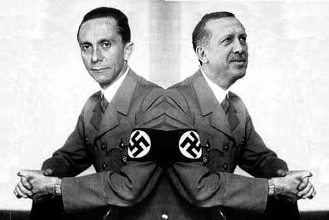 The propagandist on the left is Joseph Goebbels. The one the right is Erodgan, who Avigdor Lieberman says is his successor
