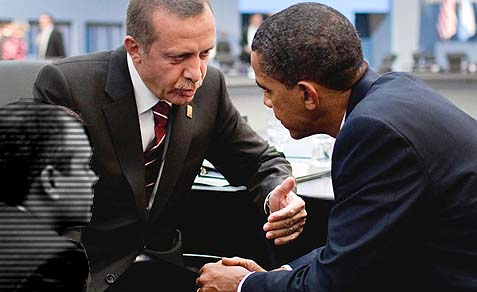 Prime Minister Recep Tayyip Erdoğan of Turkey speaks with President Barack Obama. The two leaders appear to be in complete agreement over Syria and Egypt, especially the latter, where Erdoğan's fellow travelers have been ousted.