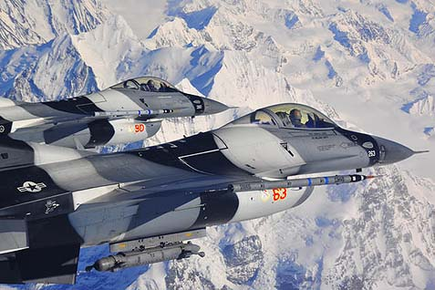 A pair of U.S. Airforce F-16 Fighting Falcons, capable of destroying more than 400 types of targets.