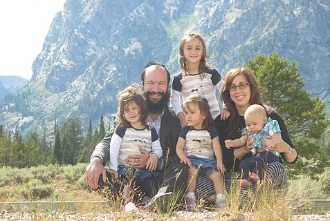 Rabbi Zalman Mendelsohn, co-director of Chabad Jewish Center of Wyoming with his wife, Raizy, and their children.