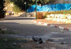 Katyusha missile that exploded in a street in Kibbutz Gesher HaZiv Thursday afternoon
