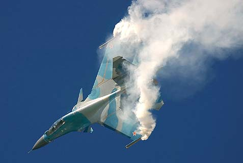 A Russian Sukhoi emerging from a cloud. Despite its old age, this Soviet-made attack plane can still inflict a lot of damage on a tiny island like Cyprus. Hence the immediate response by the RAF.