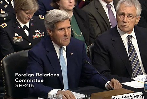 Sec. State John Kerry, Sec. Defense Chuck Hagel, and Chairman of Jt Chiefs of Staff Maring Dempsey