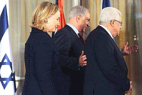 Is Benjamin Netanyahu less responsible for the release of killer prisoners than PA Chairman Mahmud Abbas (front) or former Secretary of State Hillary Clinton (back) and her successor, John Kerry?