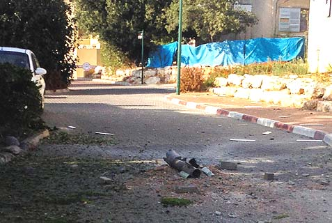 The site of where a katyusha rocket fired from Lebanon into Northern Israel, striking down in kibbutz Gesher haZiv, near Nahariya.