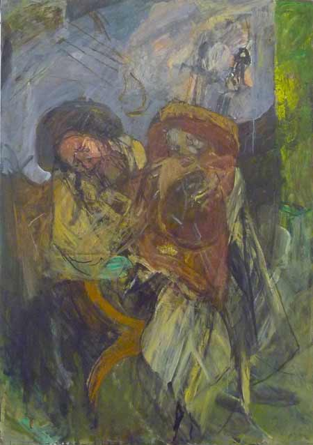 Rabbi with Torah II (#18) (1995-2005), oil on canvas by Hyman Bloom.  Courtesy White Box and Estate of Hyman Bloom.