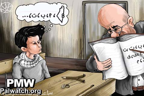 "The cartoon above shows a teacher showing a Palestinian child the letters of the alphabet. But the text in the child's mind shows that he visualizes the map of ""Palestine"" replacing all of Israel before he starts learning the alphabet. The cartoon also implies violence, as the child's pencil is shaped as a slingshot with a stone next to it."