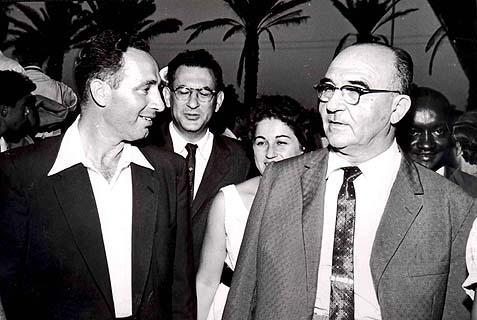 Shimon Preres with then Israeli Prime Minister, Labor's Levi Eshkol (circa 1963).