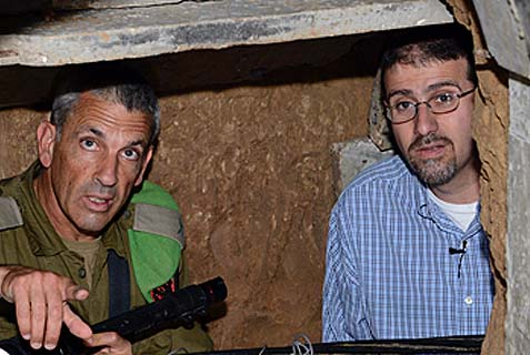 Brig. Gen. Mickey Edelstein, Commander of the Gaza Division showing U.S. Ambassador to Israel Dan Shapiro the terror tunnel uncovered by the IDF near Gaza.