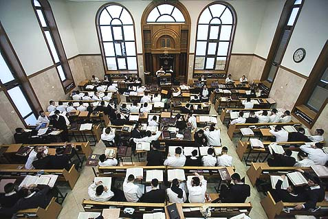 Students at the Mir Yeshiva in Jerusalem. The alarm over the fate of our yeshivas following the newest cuts may be premature, but the nastiness against yeshivas is palpable.