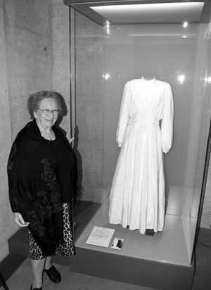 Lilly Friedman and her parachute dress on display in the Bergen Belsen Museum.