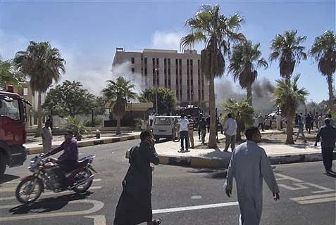 Security service building in El Tor, Sinai, shortly after today's attack.