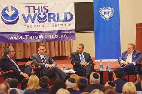The discussion featured (R-L) Sheldon Adelson, Rabbi Shmuley Boteach, Bret Stephens, and Richard Joel.