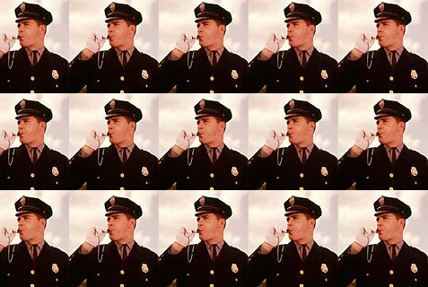 1960s Portrait Man Policeman Traffic Cop Blowing Whistle