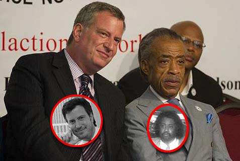 Nostalgia:  Bill de Blasio (left) and Al Sharpton today and back in 1992.