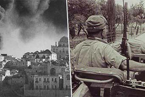 Left: Jordanian forces destroy Jewish landmarks in the Old City of Jerusalem, 1948. Right: an Israeli jeep approaches the Mosque of Omar during the battle that reunited Jerusalem under Israeli rule, 1967.