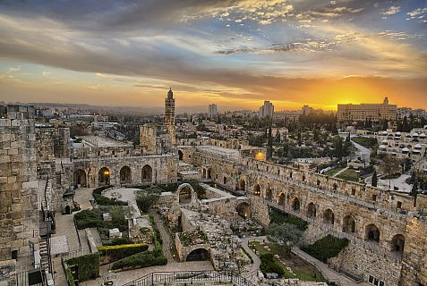 "Jerusalem's Tower of David Museum in a still from the IMAX film ""Jerusalem."""