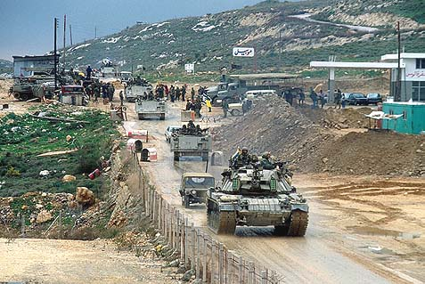 IDF units retreating from Lebanon, February, 1985.