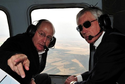 Secretary of Defense Chuck Hagel with Minister of Defense Moshe Yaalon on helicopter tour of the Golan Heights last April. The Secretary has invested in gaining Israel's trust.