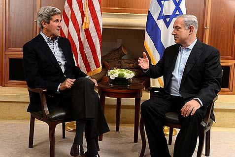 Prime Minister Benjamin Netanyahu meets with US Secretary Of State John Kerry in Jerusalem.