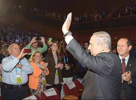 "Prime Minister Benjamin Netanyahu with ""his people"" at the United Jewish Communities General Assembly (GA) last night. Bibi is ready to do battle with the Administration over the Iran deal, and U.S. Jews could help."