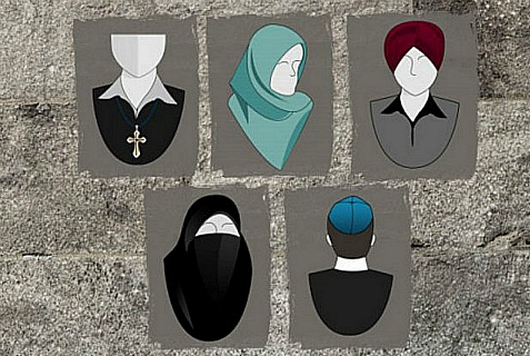 "Examples of ""ostentatious religious symbols"" that would be banned for public workers or those receiving public services under Quebec's proposed Secularism Charter"