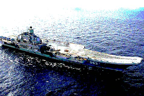 The Russian Navy's only aircraft carrier, the Admiral Kuznetsov.