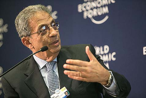 Amr Moussa, pictured here at a 2013 World Economic Forum conference, says that Egypt's proposed constitution will not allow for a military or theocratic government.